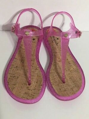 e80da49a515 Kate Spade New York Jelly Sandal Thong T Strap Shoes Pink Sparkle Size 6 NEW