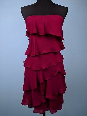 4652e726 BCBGMAXAZRIA 'Ginger' Scarlet Red/Pink Ruffled Tiered Strapless Silk Dress  ...