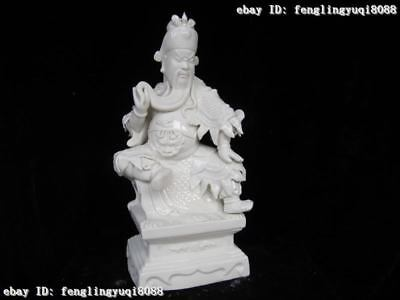 Chinese Fane Refined White porcelain handwork Made Sit Guan Gong warrior Statue