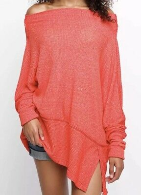 939a0763e7a283 NWT Free People Sz XS LONG SLEEVE Oversize Off Shoulder Thermal Top CHERRY  RED
