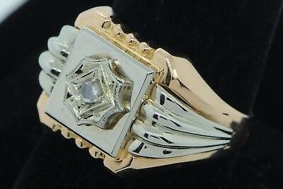 Art Deco (ca. 1930) 18K Rose Gold White Gold Rose Cut Diamond Ring (Size 10 3/4)