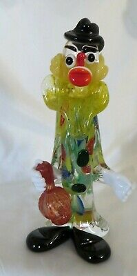 Murano Glass Clown Figurine Holding A Bottle