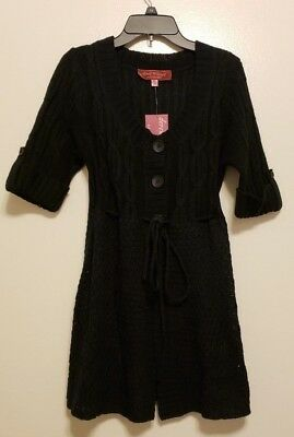 Derek Heart Maternity Tunic Sweater Black Woman's SZ Large Button Front Pockets