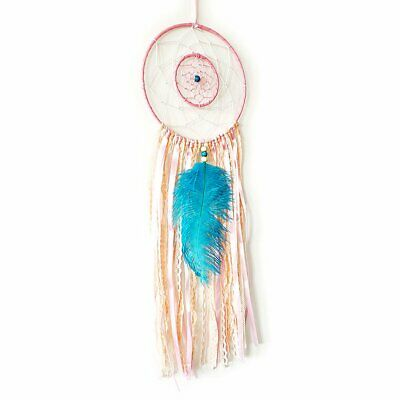 Parlie Handmade Large Pink Dream Catcher with Blue Feathers Glass Stone Beads, W