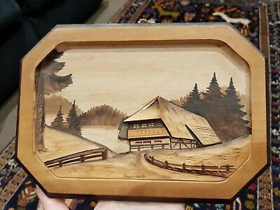 Vintage Wooden Carving 3D Painting