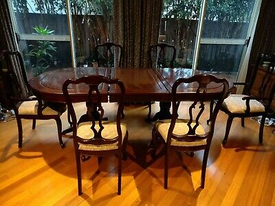 Vintage Chinese Rosewood Dining Table Set