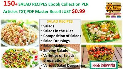 150+ SALAD RECIPES  Ebook Collection PLR Articles TXT,PDF Master Resell JUST0.99