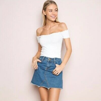 593a82678b9df7 brandy melville white cropped ribbed off shoulder jessie top NWT sz XS S
