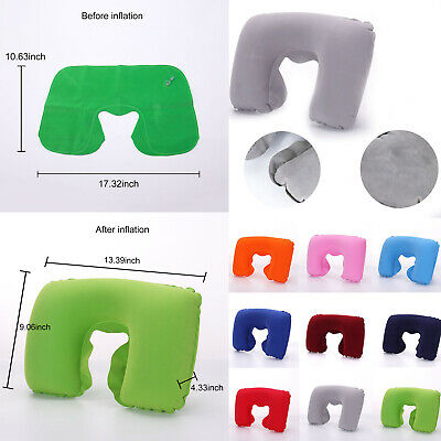U-Shaped Inflatable Pillow Cushion Neck Portable Flight Travel Pillow Textile
