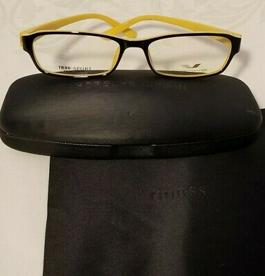 bc4e6bb57cc4 Porsche Design Demo Lens Glasses Eyeglass Frames Black   Gold Yellow TR90  Sport
