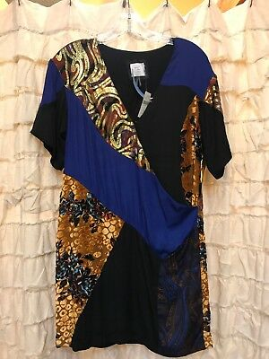 Anthropologie HD in Paris Camellia Patchwork Dress Size 4 Petite Blue Black Gold