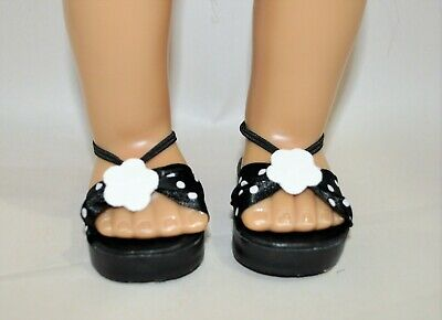 """American Girl Doll Our Generation 18"""" Dolls Clothes Shoes Black Spotted Sandals"""