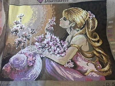 Handwoven Halfstitch Diamant Long Haired Lady Floral Tapestry 47X35.5cm Unframed