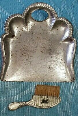 Silver Plated Silent Butler Crumb Catcher Sweeper Pan & Brush Set Scotty DOG 819