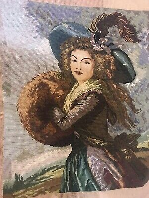 Handwoven Halfstitch & Petite Point Lady With Muff & Feather Tapestry 57X48cm