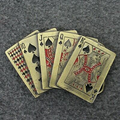 Vintage 70's 1979 Royal Flush Poker Playing Cards Great American Belt Buckle
