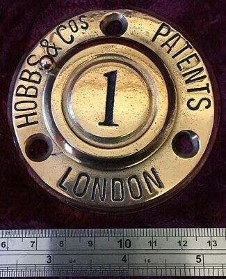 Genuine Antique/Vintage Cast Brass Hobbs & Co Safe Plaque/Plate/escutcheon