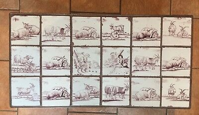 Table 18 Delft Manganese Tiles C 1750 Shepherd Goats