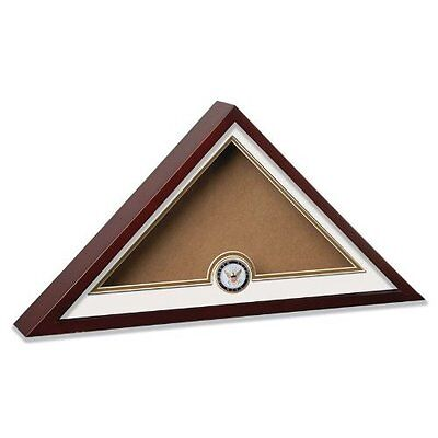 US Military Flag Display Case Includes Navy Medallion Wood Glass Memorial Burial