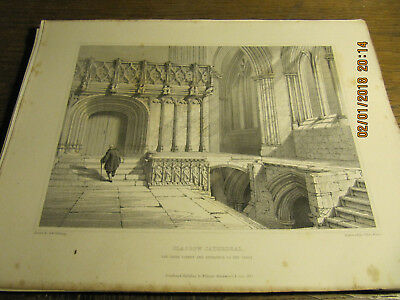 Planche Glasgow Cathedral - The Choir Screen and Entrance Crypt BILLINGS 19e
