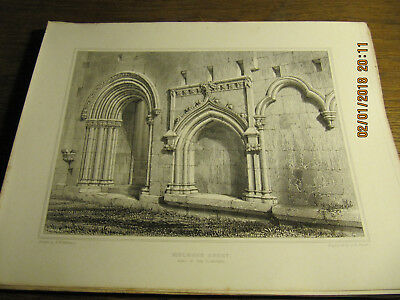Planche Melrose Abbey - Part of the Cloisters BILLINGS 19e