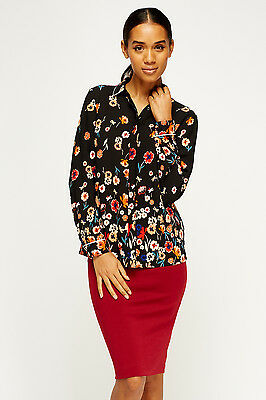 Women's Top Black Floral Button Collar Long Cuff Sleeves Blouse Shirt Curves S/M