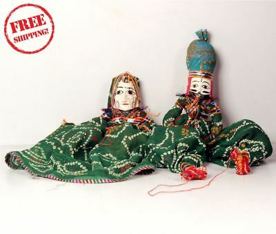 1950's Indian Vintage Hand Crafted Wooden Head & Cloth Men & Woman Puppet 10172