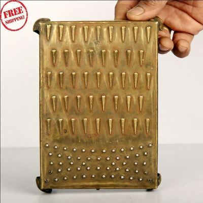 Old Brass Handcrafted Fine Quality Unique Kitchen Grater , Rich Patina 9239