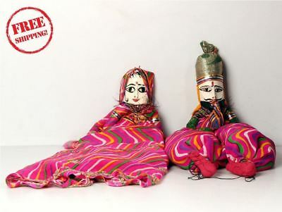 1950's Indian Vintage Hand Crafted Wooden Head & Cloth Men & Woman Puppet 10170