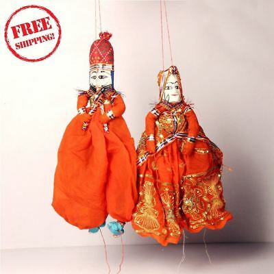 1950's Indian Vintage Hand Crafted Wooden Head & Cloth Men & Woman Puppet 10173