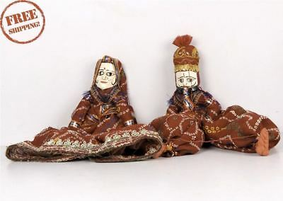 1950's Indian Vintage Hand Crafted Wooden Head & Cloth Men & Woman Puppet 10169