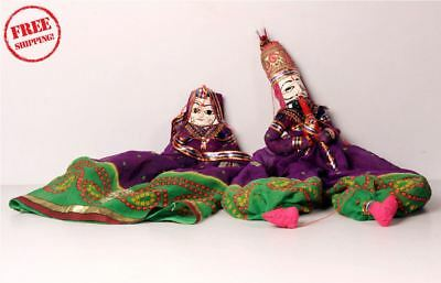 1950's Indian Vintage Hand Crafted Wooden Head & Cloth Men & Woman Puppet 10171