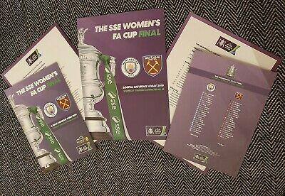 SSE WOMEN'S FA CUP FINAL WEST HAM UNITED v MANCHESTER CITY PROGRAMME & TEAMSHEET
