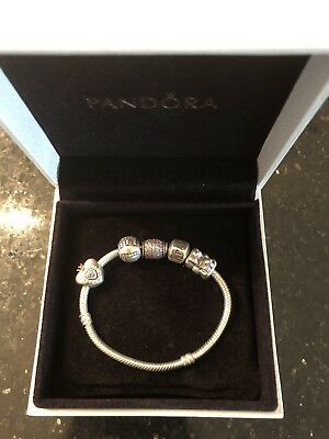 LN GIRLS PANDORA BRACELET WITH 4 CUBIC ZIRCONIA CHARMS & BOXED Worn Once £200+