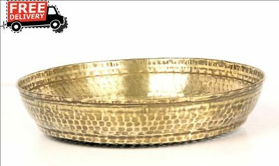 Vintage Brass Water Drainer Plate Middle East Tray Plate Kitchenware 7483
