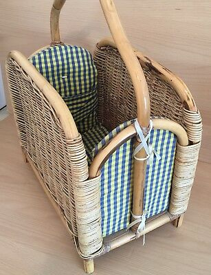 Bamboo Wicker Magazine Rack Vintage Rattan Storage Cane Yellow & Blue Fabric