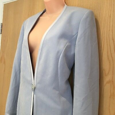Jacques Vert Size 12 Ice Blue Jacket Blazer One Button Satin Edged Soft Wedding