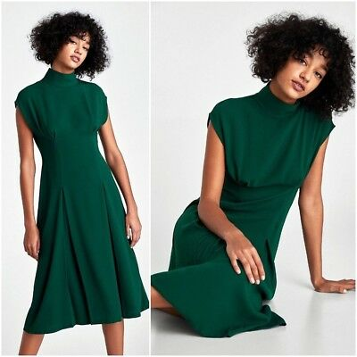 38be12a53ca Zara Smart Elegant Bottle Green Flowing Midi Dress With Pleat Detail Size S