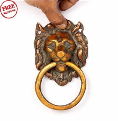 Old Brass Handcrafted Lion Head Design Solid Heavy Knocker / Door Handle 6223