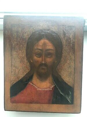 """Antique 19c Russian Hand Painted Wood Icon """"Christ Pantocrator"""""""