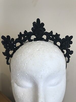 Black Lace Crown Fascinator