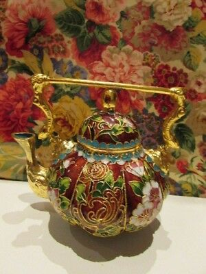 CHINESE Enamel CLOISONNE BURGUNDY/GOLD/ TURQUOISE TEAPOT with CHAIN HANDLE.  VGC