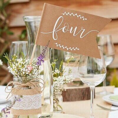 Rustic Country Vintage Wedding Table Venue Decoration Table Number Flags 1- 12