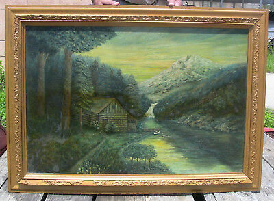 Antique Oil Painting Scenic Landscape Mountain Log Cabin River Rustic Farmhouse