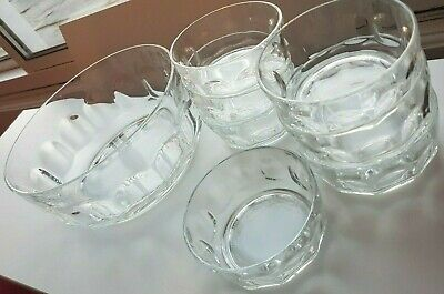 Vintage ARCOROC Large Glass Thumb Print Trifle Salad Bowl *8 PIECE SET*REDUCED!*
