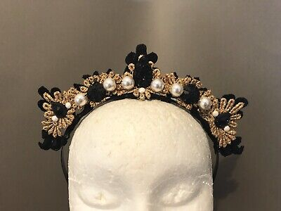 Fascinator/ Crown Headband Black And gold Races