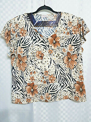 1a44cf9a0398 Ladies BONMARCHE Top Size Large UK 20-22 Brown Floral Animal Skin Print  Stretch