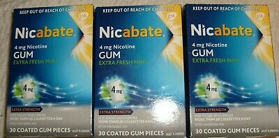 NICABATE GUM 4 MG date 08 / 2020 quit now 3 packs 90 pieces freshmint