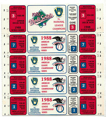 4 1988 Un-Used  Milwaukee Brewers ALC Tickets + world series ticket