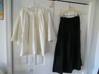 Vintage 1900's Antique White Ivory Church Choir Boy Top Black Skirt Satin Sash